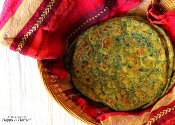 Aloo-Palak Paratha (Potato-Spinach Flat Bread)