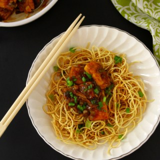 Tofu In A Chili-Garlic Sauce {Served Over Crispy Noodles}