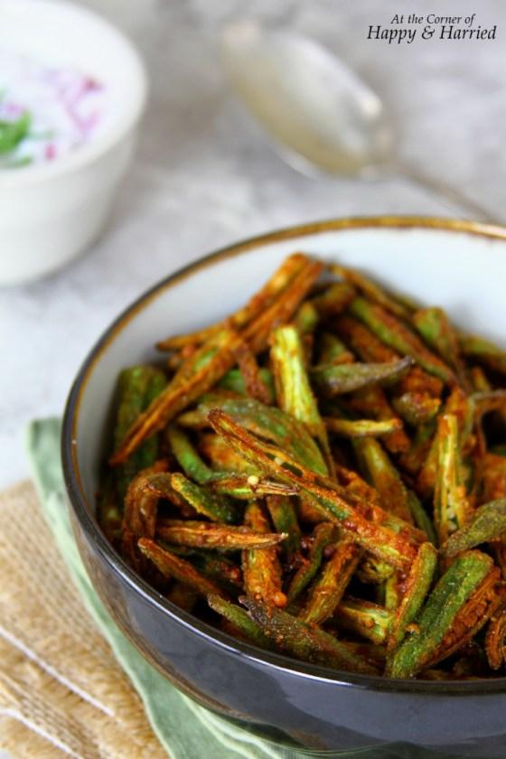 Kurkuri Masala Bhindi {Spicy Indian Style Okra Fry}