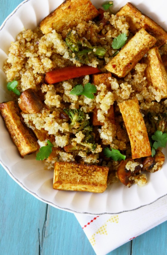 Quick And Healthy Quinoa Stir Fry With Tofu And Vegetables
