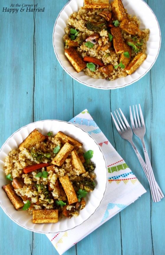 Quinoa, Tofu And Vegetables Stir Fry