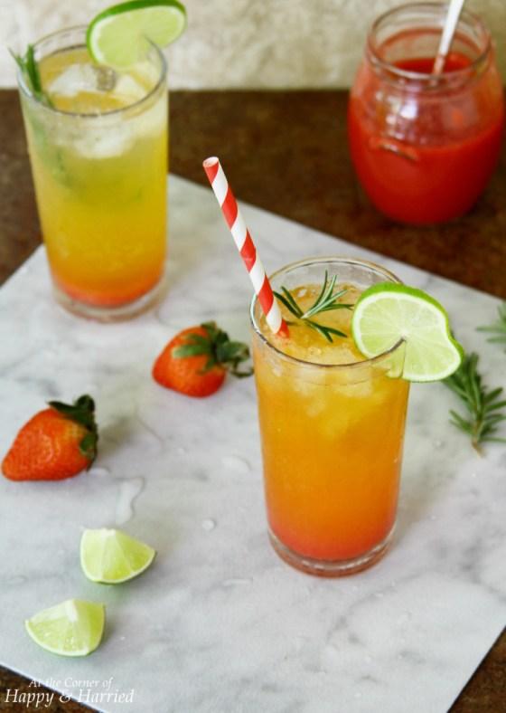Sunrise Mocktail With Strawberry Syrup & Clemetine Orange Soda