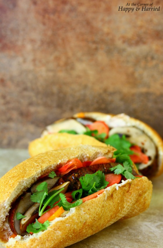 Vietnamese Banh Mi Sandwich With Mushrooms, Pickled Radishes And Fresh Vegetables