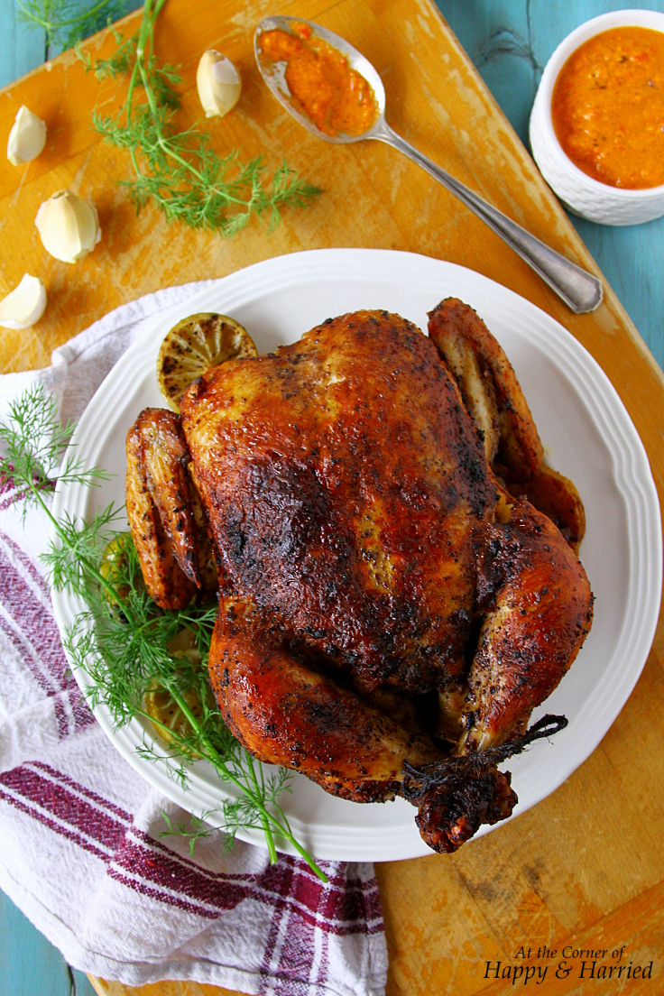 Whole Roasted Chicken {Seasoned With Piri Piri Sauce, Sumac And Dill}