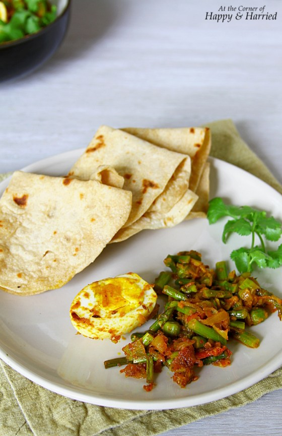 Asparagus, Peas And Egg Curry With Chapatis