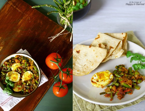 Asparagus, Peas And Egg Masala With Chapatis