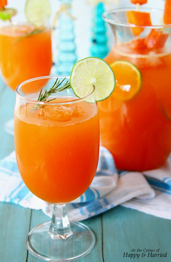 Papaya Agua Fresca With Lime, Honey & Rosemary