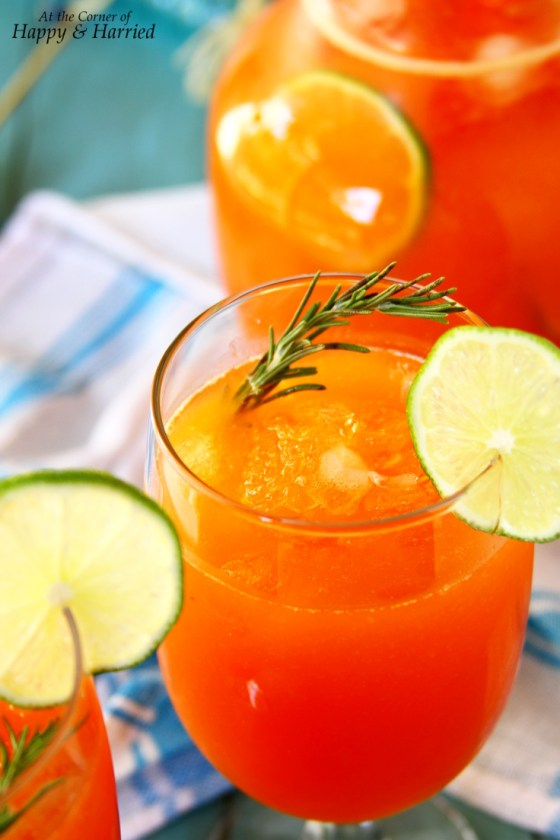 Papaya, Lime And Honey Agua Fresca With Rosemary Sprigs