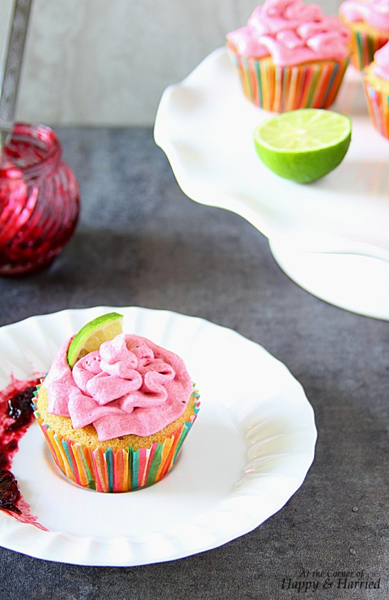 Vanilla And Lime Cupcakes With Blackberry Buttercream Frosting
