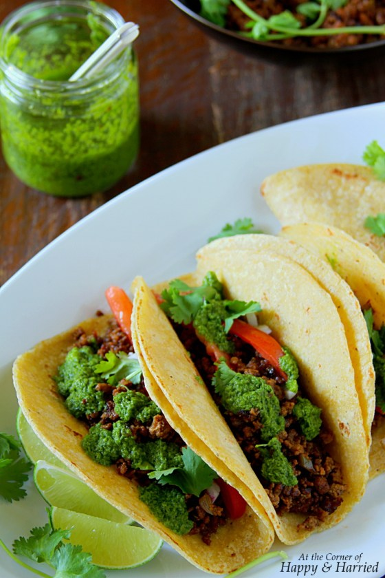 Ground Beef Tacos and Chimichurri Sauce