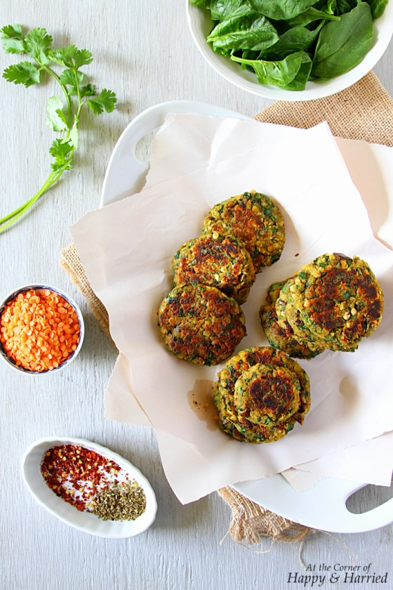 Lentil-Spinach-Eggplant Fritters