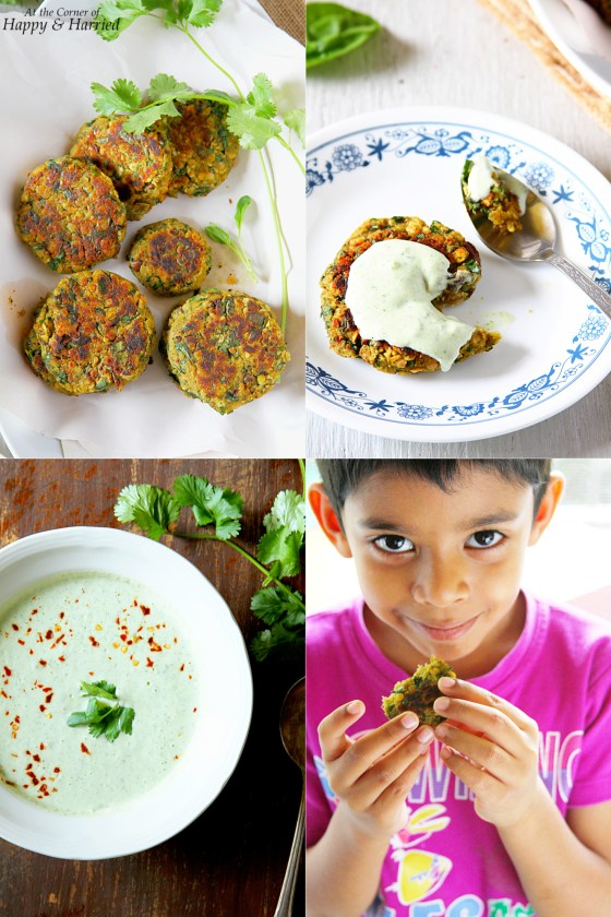 Lentil & Vegetable Pan Fritters With Yogurt-Avocado Sauce