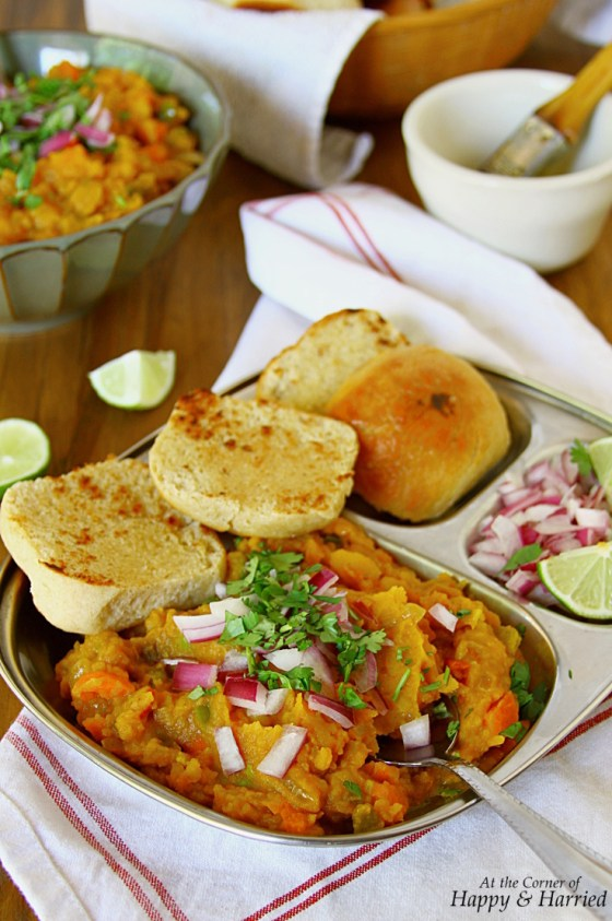 Pav Bhaji {Indian Street Food - Spiced Mashed Vegetables Served With Homemade Bread Rolls}