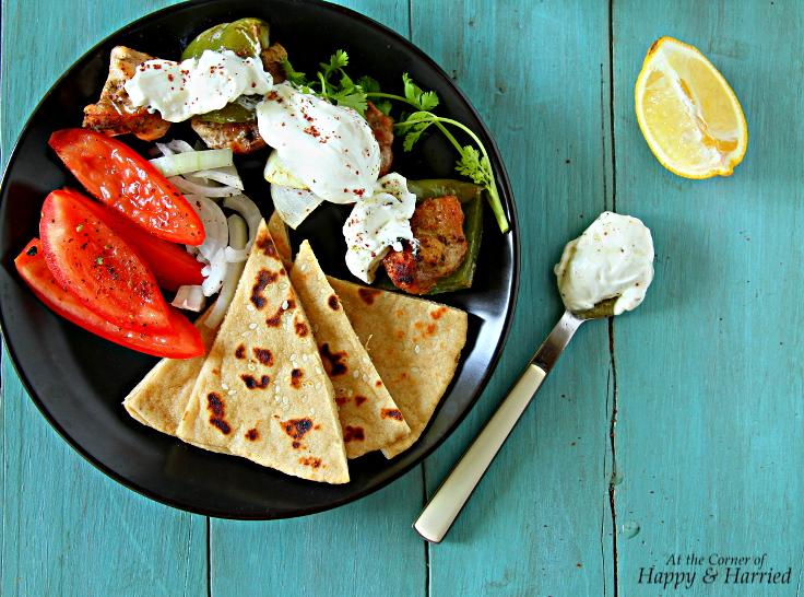 Mediterranean Platter With Grilled Chicken Kebabs, Flatbreads & Feta Sauce