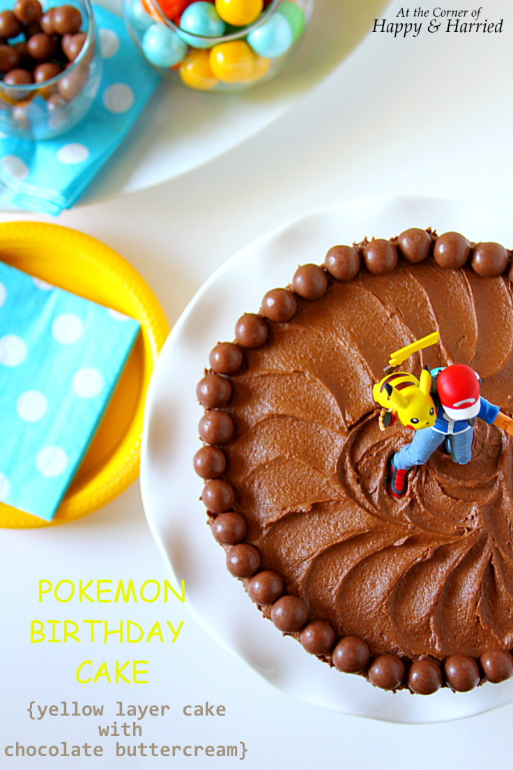 Terrific Pokemon Birthday Cake Yellow Layer Cake With Chocolate Buttercream Personalised Birthday Cards Bromeletsinfo
