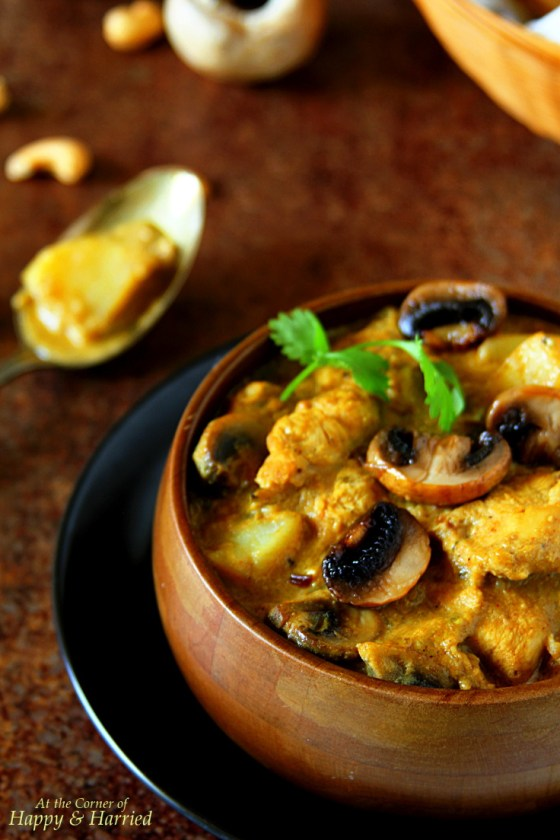 Chicken Mushroom Korma {With Cashew Paste & Coconut Milk}