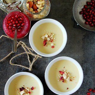 Bhapa Doi Or Baked Yogurt Pudding {With Pomegranate Coulis}
