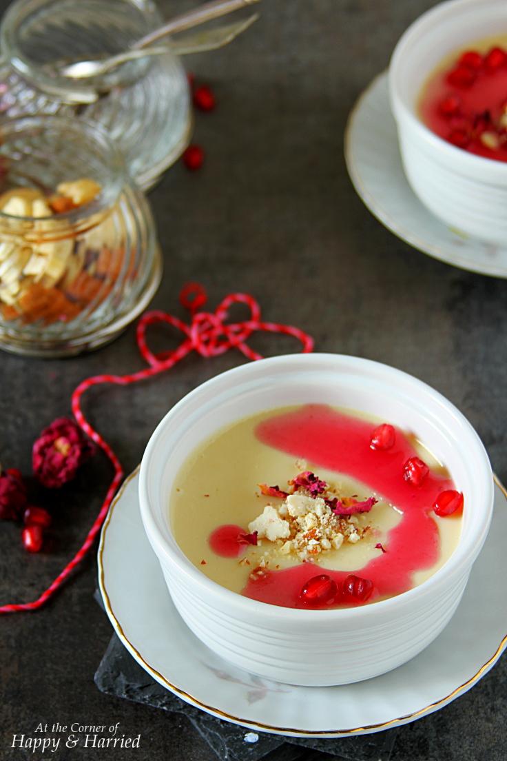 Bhapa Doi or Yogurt Pudding with Pomegranate Coulis