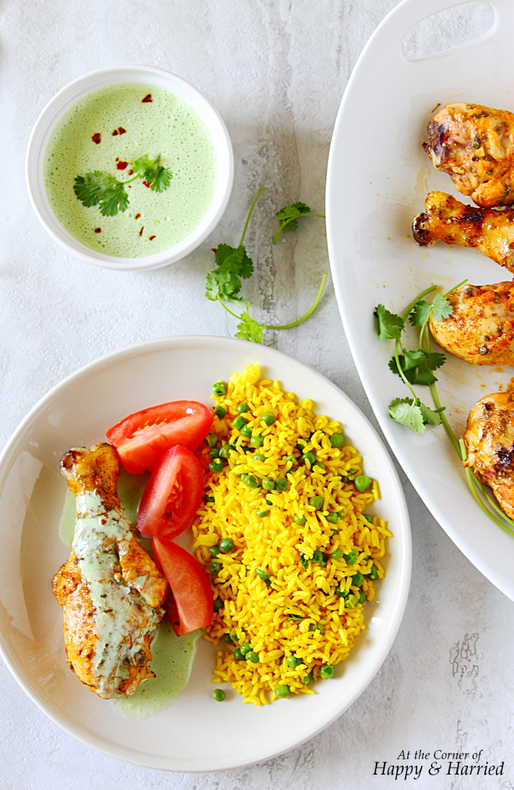 Cilantro-Orange-Sriracha Chicken Drumsticks With Turmeric Rice & Cilantro Yogurt