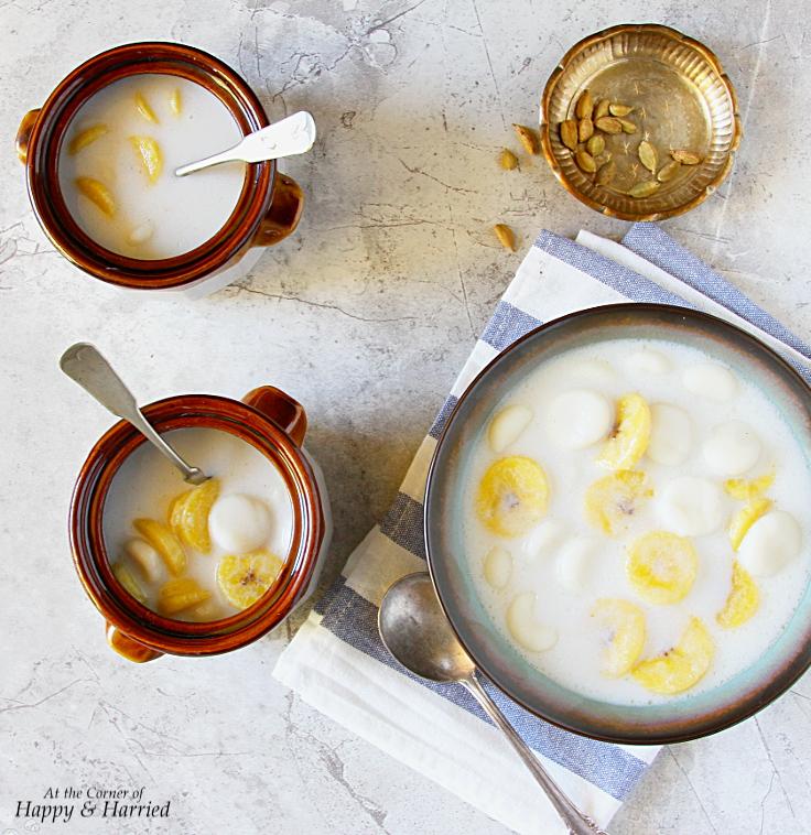 Paal Kozhukattai {rice flour dumplings & plantains in a coconut milk pudding}
