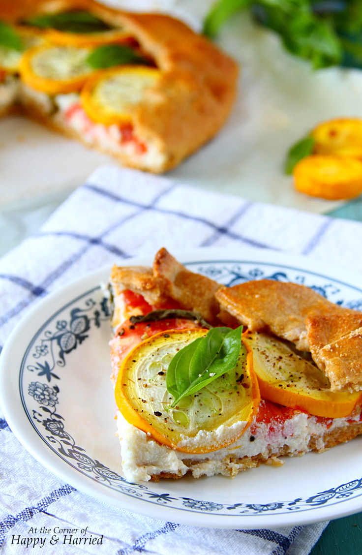 Whole Wheat Tomato, Squash & Herbed Ricotta Free-form Pie - Galette