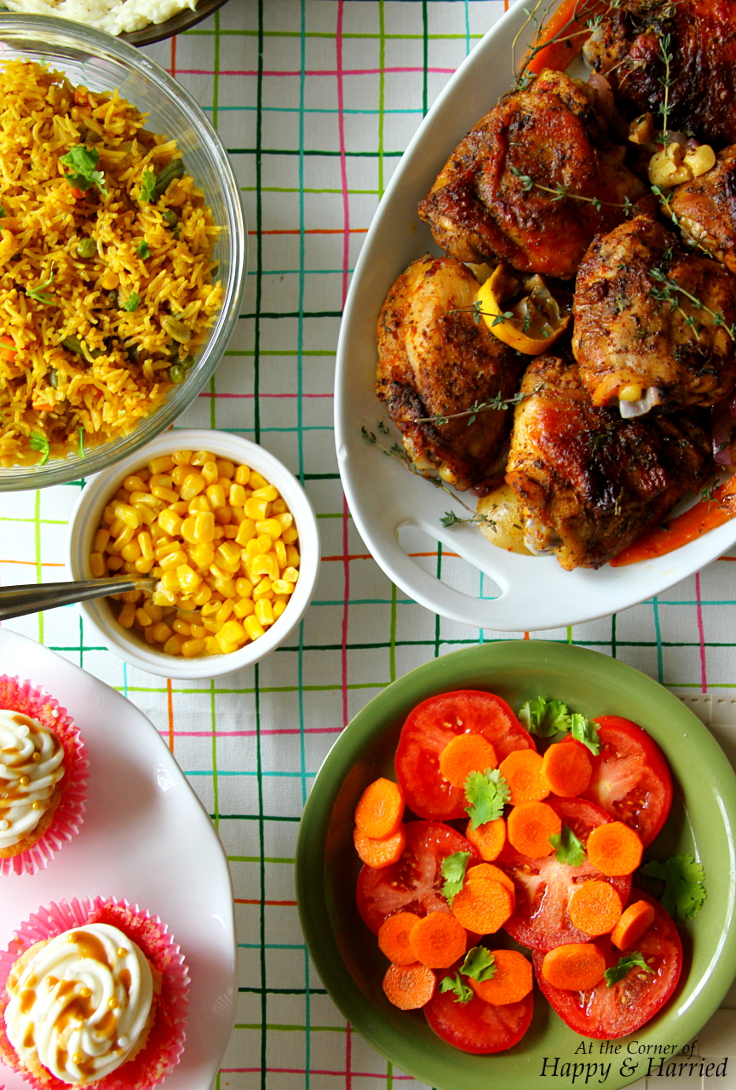 Indo American Thanksgiving - Blackened Spiced Roast Chicken, Vegetable Pulao & Sides