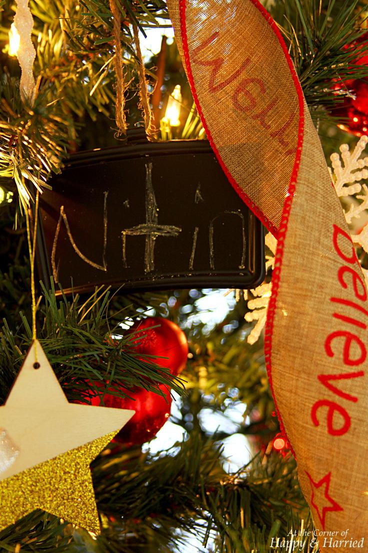 HappyandHarried Christmas 2015 - Handwritten Chalkboard Ornament