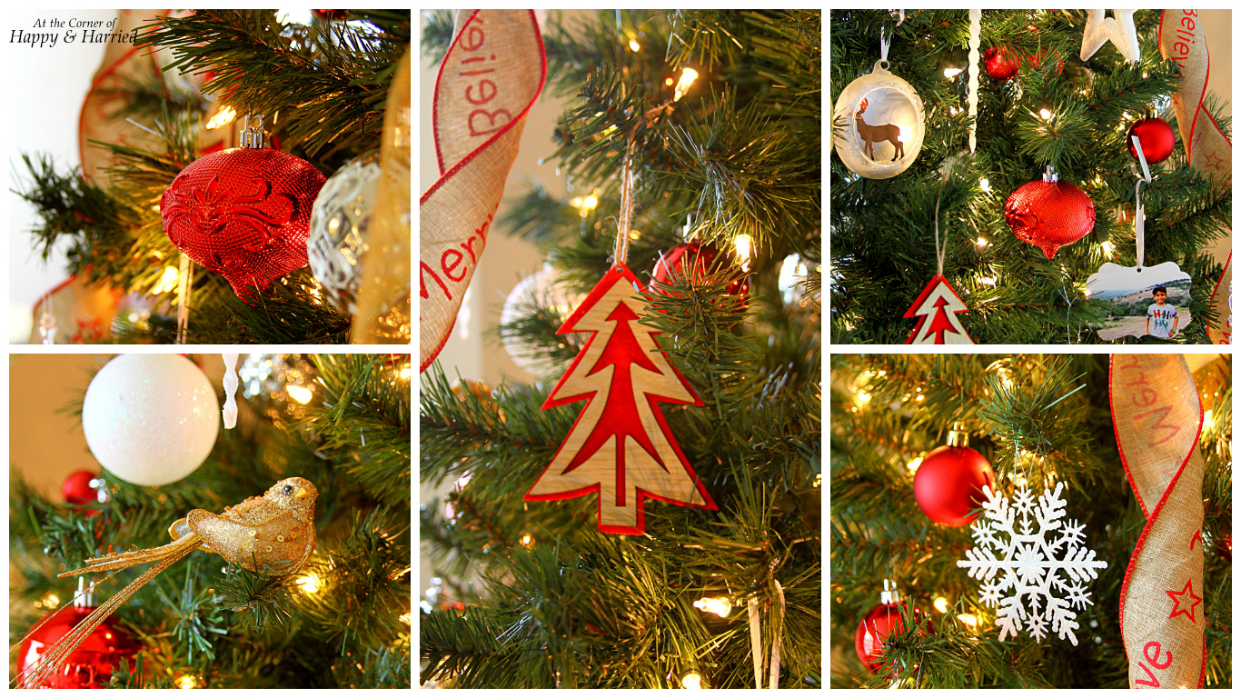 HappyandHarried Christmas 2015-Red, White Natural Christmas Tree Decorations