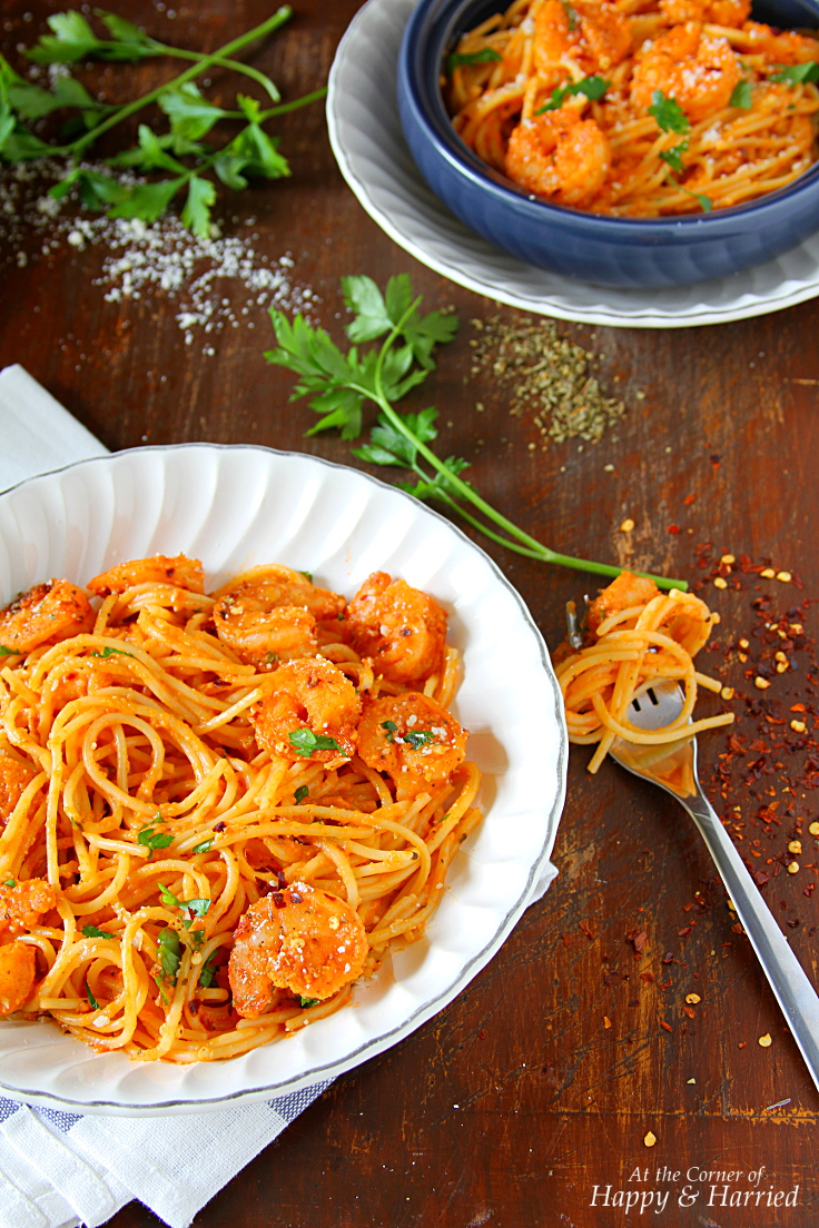 Spicy Shrimp Pasta In Creamy Tomato Sauce, Parsley & Parmesan