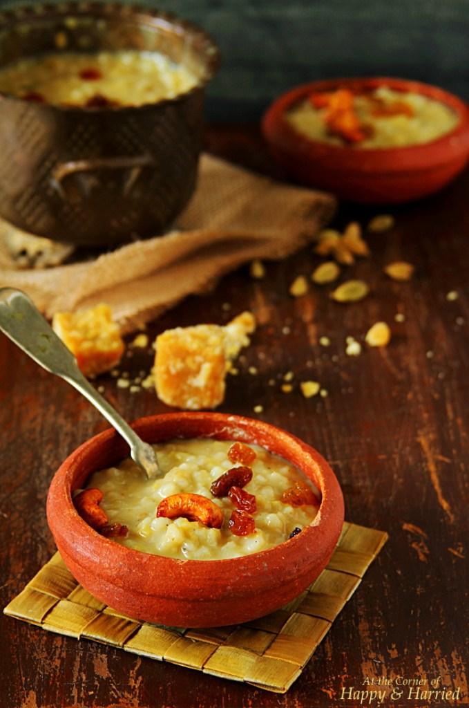 Barley Sakkarai Pongal {Sweet Barley and Jaggery Pudding}