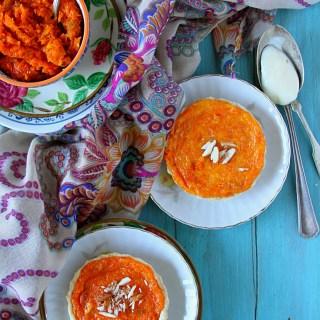 Carrot Halwa Tarts {With Vanilla Orange Custard}
