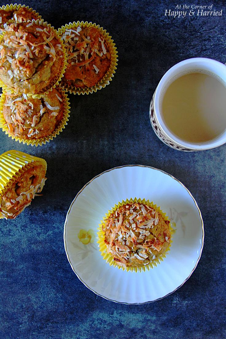 Fluffy Moist Papaya, Banana & Coconut Muffins