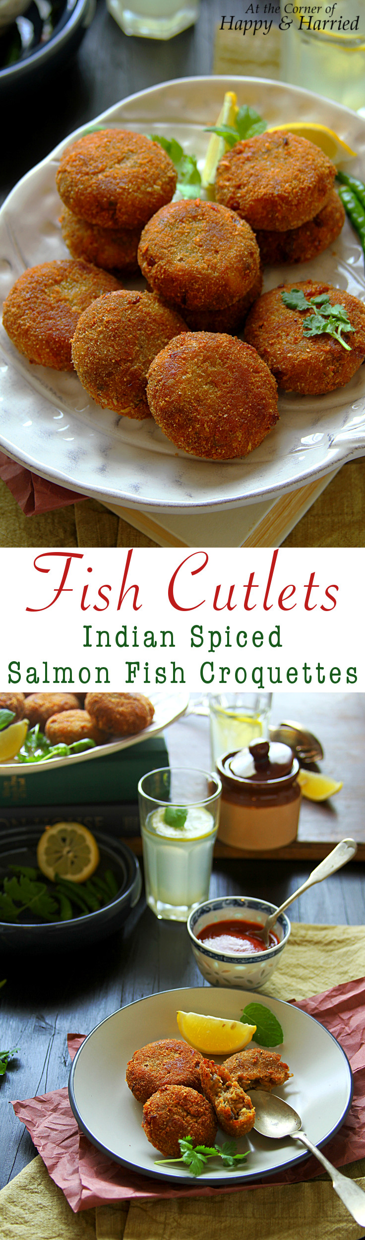 FISH CUTLETS {INDIAN SPICED SALMON FISH CROQUETTES} - HAPPY&HARRIED
