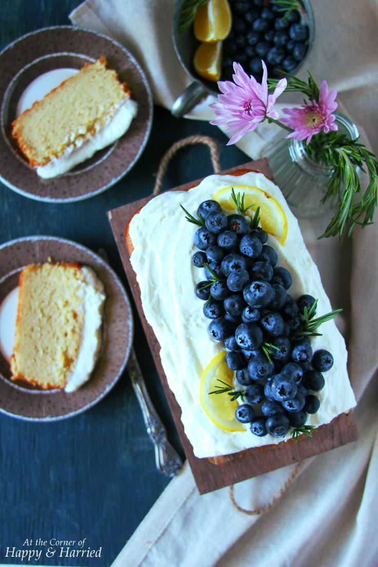 LEMON RICOTTA CAKE TOPPED WITH WHIPPED CREAM & BLUEBERRIES - HAPPY&HARRIED