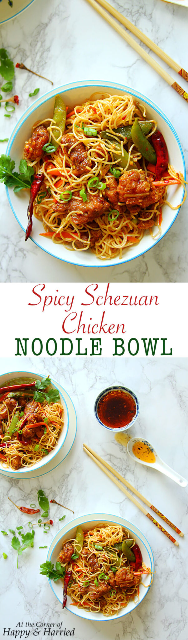 Spicy Szechuan Chicken Noodle Bowl - Happy&Harried