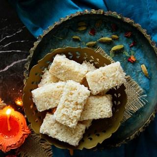 COCONUT BURFI - INDIAN COCONUT FUDGE - HAPPY&HARRIED