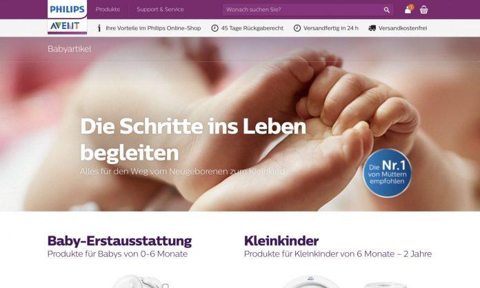 Screenshot der Marke Philips Avent