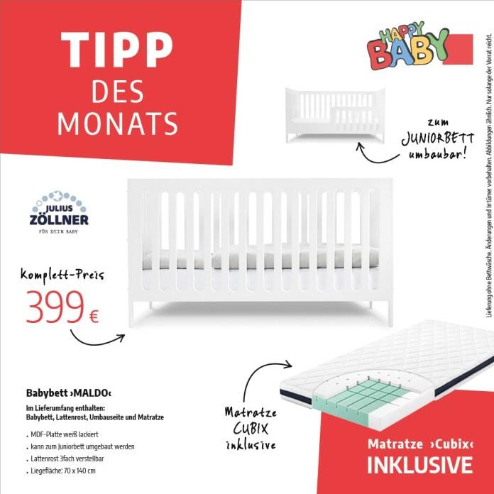 """Tipp des Monats vom November 2020 - Babybett """"Maldo"""" inklusive Matratze """"Cubix"""" von Julius Zöllner - Teaser"""