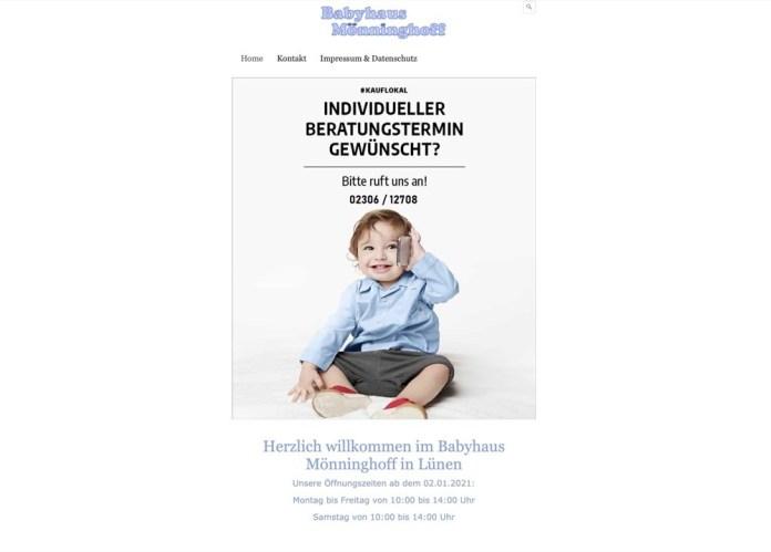 Screenshot der Firma Babyhaus Mönninghoff