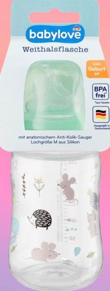 Weithalsflasche von Babylove mit Hinwies auf BPA-Freiheit
