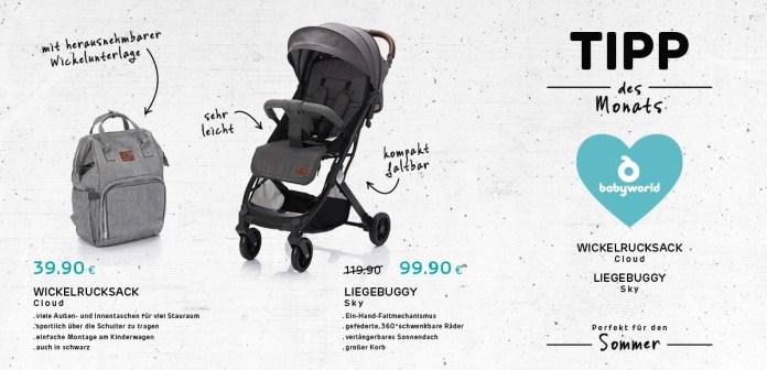 """Tipp des Monats Juli 2021: Wickelrucksack """"Cloud"""" und Liegebuggy """"Sky""""von Babyworld"""