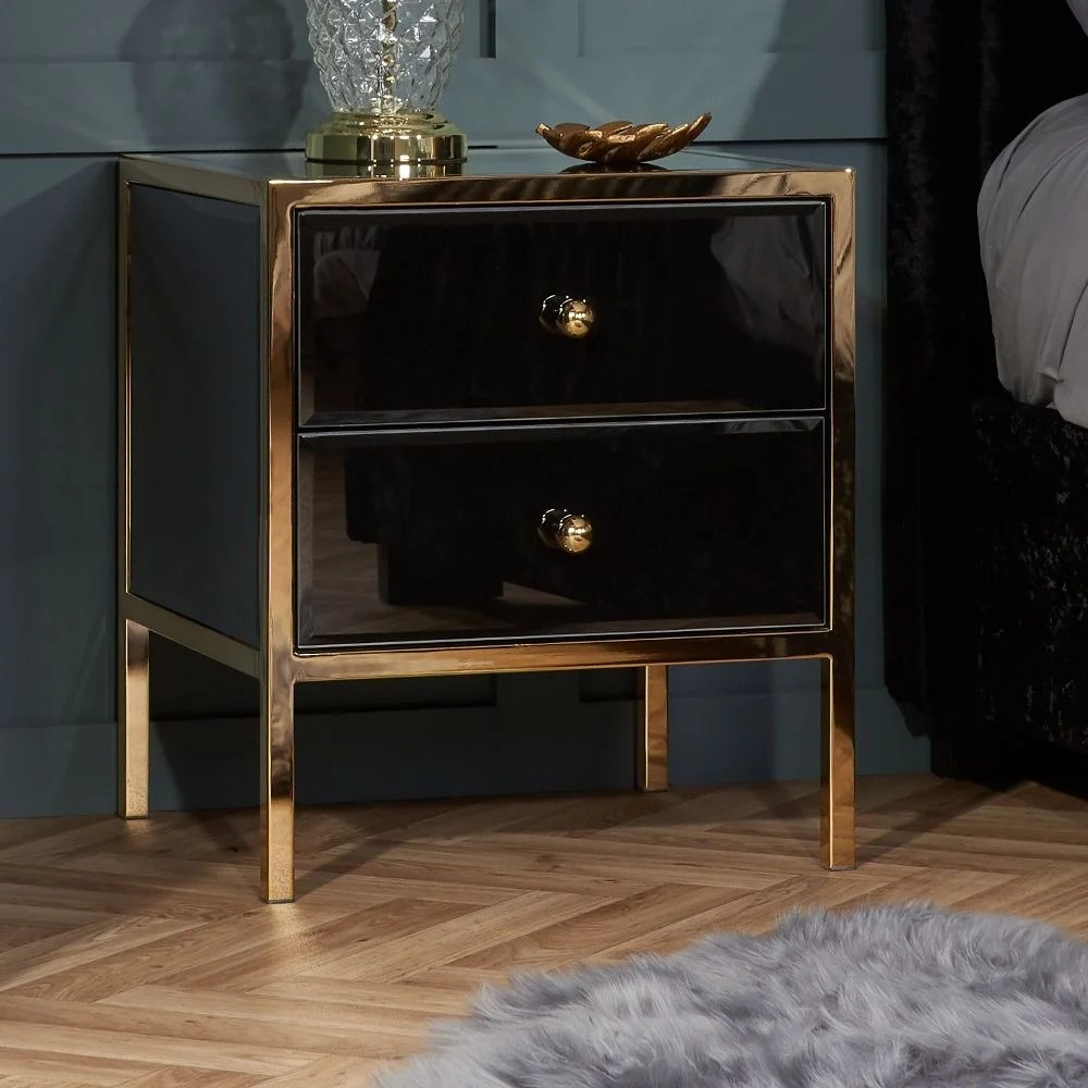 fenwick black and gold 2 drawer bedside table