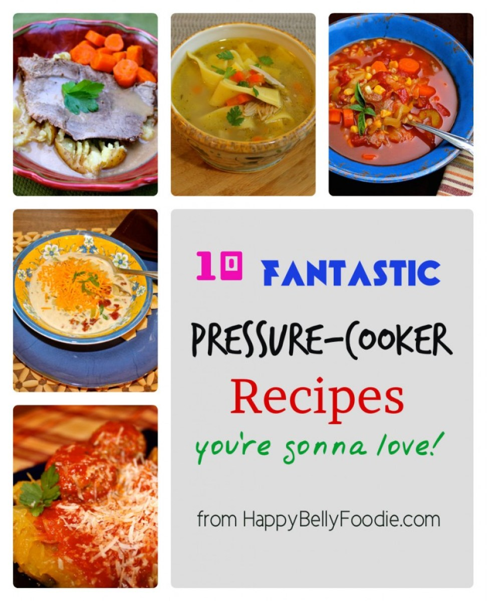 10 Fantastic Pressure Cooker Recipes you can make lickity split. Visit HappyBellyFoodie.com for details!