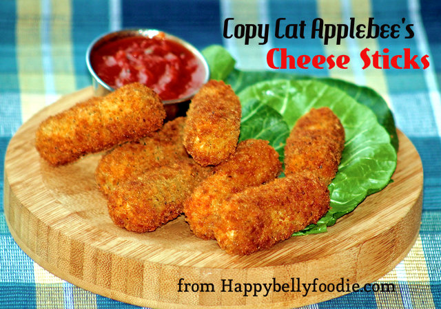 Copy Cat Applebee's Cheese Sticks are the perfect treat for game day! Make up a batch and freeze for later. from Happybellyfoodie.com