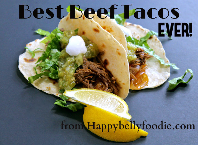 Best Beef Tacos EVER! Slow cooked morsels of tender beef served on freshly made tortillas doesn't get better than this! from Happybellyfoodie.com