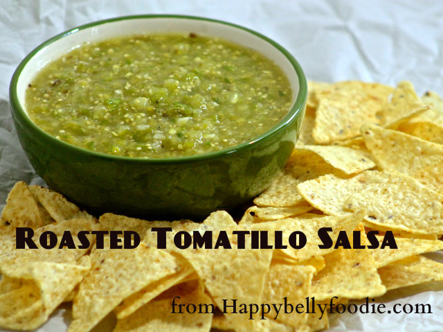 Roasted Tomatillo Salsa has just the right amount of heat and it's not too sweet. Serve with fresh tortilla chips or as a side to compliment your favorite Mexican meal. from Happybellyfoodie.com