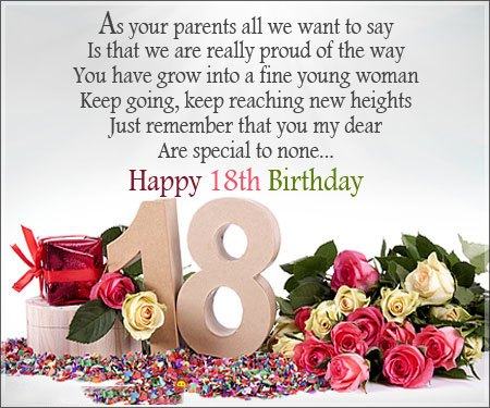 Happy 18th Birthday wishes for Girl