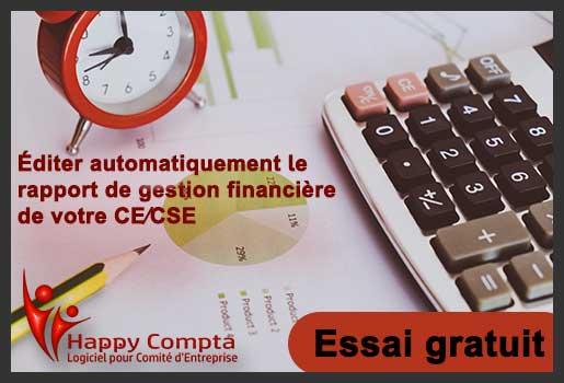 Essai gratuit happy-compta, éditer automatiquement votre rapport de gestion de votre CE ou CSE