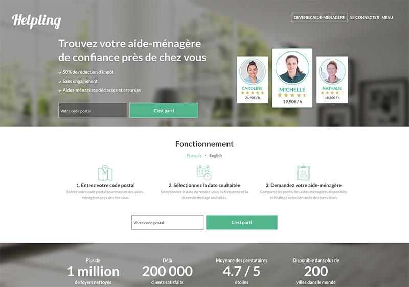 Interface du site web Helping, la plateforme d'aides ménagères