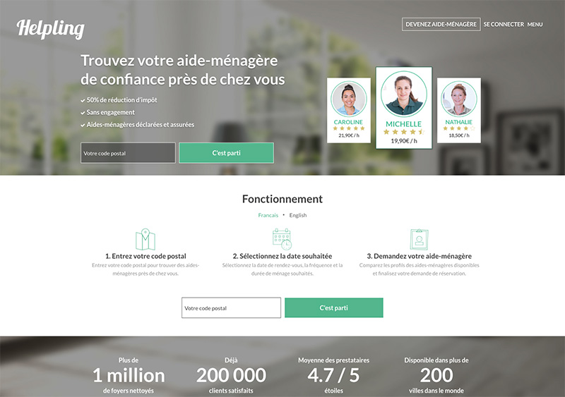 Interface du site web Helping, la plateforme d'aides ménagères